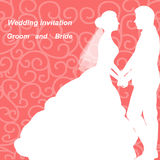 Wedding invitation with the bride and groom. Wedding invitation with the bride and groom on an abstract background. Bride and groom. Vector illustration Royalty Free Stock Photo
