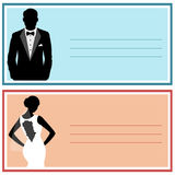Wedding invitation with the bride and groom. Bride and groom. Wedding card. Vector illustration Stock Photography