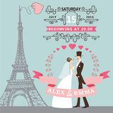 Wedding invitation.Bride, groom ,floral wreath Stock Photography