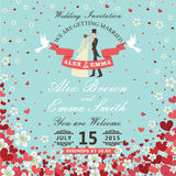 Wedding invitation.Bride and groom.Flying hearts,flowers background. The wedding invitation with groom ,bride in Retro style with vignettes,ribbon,pigeons,Flying royalty free illustration