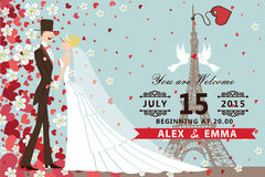 Wedding invitation.Bride,groom ,Hearts ,flowers. Retro wedding invitation with groom ,bride ,pigeons,Eiffel tower.Flying hearts and flowers background.Spring stock illustration
