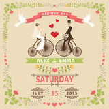 Wedding invitation with Bride,groom,retro bicycle,floral frame. Wedding invitation design template.Cartoon pigeons, Bride, groom on retro bicycle, floral frame Stock Image