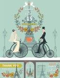 Wedding invitation.Bride,groom,retro bike.Eiffel Stock Photography