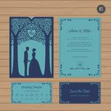 Wedding invitation with bride and groom, and tree. Paper lace   Stock Photos