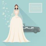 Wedding invitation. Bride in lace wedding dress Royalty Free Stock Photo