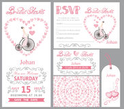 Wedding invitation.Bride onretro bike,Pink decor Stock Photo