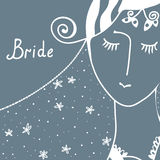 Wedding invitation with bride Stock Photo