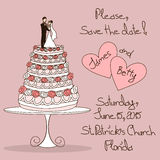 Wedding invitation with cake Royalty Free Stock Photography