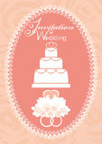 Wedding invitation with cake, doves and wedding rings Royalty Free Stock Photography