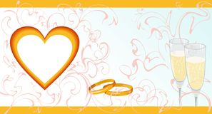 Wedding invitation card. With a heart, rings and wine bocals Royalty Free Stock Photos
