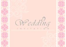 Wedding Invitation Card. With curve shape pattern in the sides royalty free illustration