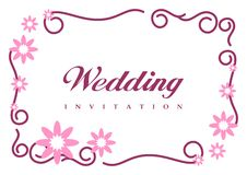 Wedding Invitation Card. With curve shape, pink flowers in the top and bottom corner royalty free illustration
