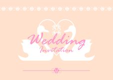 Wedding Invitation Card. Illustration of wedding invitation card with curve and love shape in the sides royalty free illustration