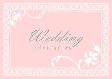 Wedding Invitation Card. With flowers in the top and bottom corner royalty free illustration