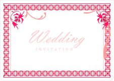 Wedding Invitation Card. With flowers in the top corner royalty free illustration