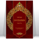 Wedding invitation or card with abstract background. Islam, Arabic, Indian, Dubai stock illustration