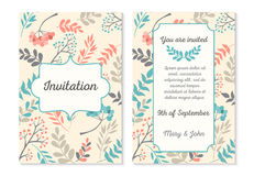 Wedding invitation card with abstract floral background. Vector. Illustration stock illustration
