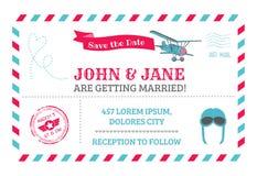 Wedding Invitation Card. Airplane Theme - in Stock Image