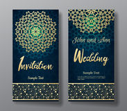 Wedding invitation card with arabic mandala background. Wedding invitation card with arabic mandala and floral pattern border. Lettering title. Vector Stock Photos