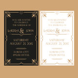 Wedding Invitation Card - Art Deco Vintage Style Stock Photo