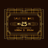 Wedding Invitation Card - Art Deco Vintage Style Royalty Free Stock Photos