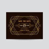 Wedding Invitation Card - Art Deco Vintage Style Stock Image