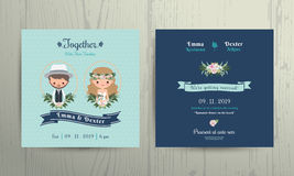Wedding invitation card beach theme cartoon bride and groom portrait. On wood background Stock Images