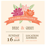 Wedding invitation card with beautiful floral background. Can be used as invitation card for wedding, birthday and other holiday Stock Photography