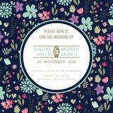 Wedding Invitation Card With Beautiful Flowers Stock Image