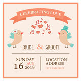 Wedding invitation card with birds in love. Vector illustration Royalty Free Stock Photos