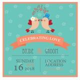 Wedding invitation card with birds in love. Vector illustration Stock Photos