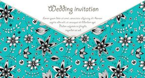 Wedding invitation card with blue floral pattern Royalty Free Stock Image