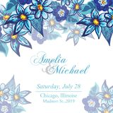 Wedding invitation card with blue flowers Royalty Free Stock Photos