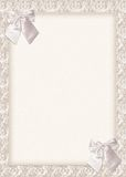Wedding Invitation card with bows. An elegant ivory wedding invitation with 2 delicate bows: the slight shadows make them look real over the card. Can also be vector illustration