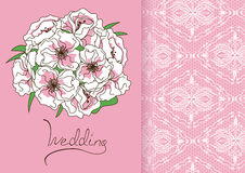 Wedding invitation or card with bridal bouquet Royalty Free Stock Photography