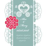 Wedding invitation card with carriage Royalty Free Stock Image