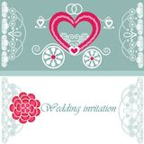 Wedding invitation card with carriage Royalty Free Stock Photo