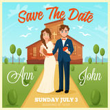 Wedding Invitation Card. Wedding invitation cartoon card with bride and groom on church background and wedding date flat vector illustration Stock Image