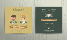 Wedding invitation card cartoon bride and groom portrait. On wood background royalty free illustration