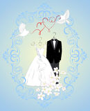 Wedding invitation card with cartoon dress of bride and groom Royalty Free Stock Photography