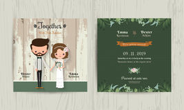 Wedding invitation card cartoon hipster bride and groom Royalty Free Stock Image