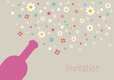 Wedding and invitation card. Champagne bottle with bubbles. Abstract flower background Royalty Free Stock Photos