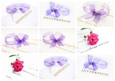 Wedding invitation card collage Royalty Free Stock Photo
