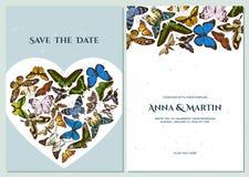Wedding invitation card with colored morpho menelaus, graphium androcles, morpho rhetenor cacica, papilio demoleus