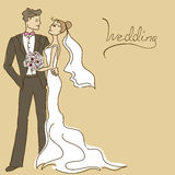 Wedding invitation or card with couple Royalty Free Stock Photo