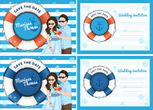 Wedding invitation card with couple cartoon playing soap bubble. Guns in blue,sea and boat theme Stock Images