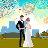 Wedding invitation card with couple and firework. Vector illustration Stock Photos
