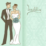 Wedding invitation or card with couple Stock Photo