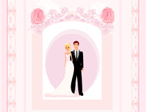 Wedding invitation card with a cute couple Stock Photography