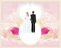 Wedding invitation card with a cute couple Stock Images